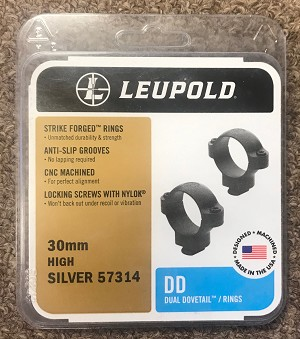 Leupold Silver 57314 30mm High Dual Dovetail Rings-NEW