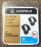 "Leupold Silver 52322 1"" Medium Dual Dovetail Rings-NEW"