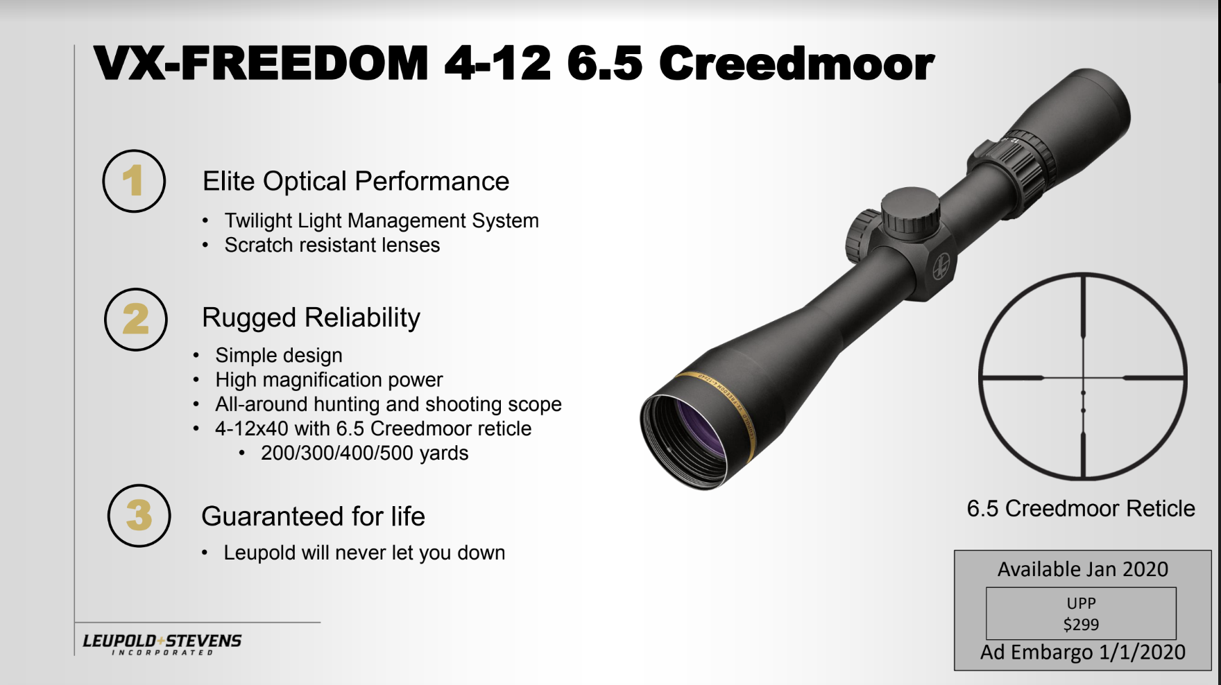 NEW! Leupold VX-Freedom  4-12x40 6.5 Creedmoor Reticle Scope