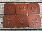 HauofArms Custom Leather Drink Coasters (6)